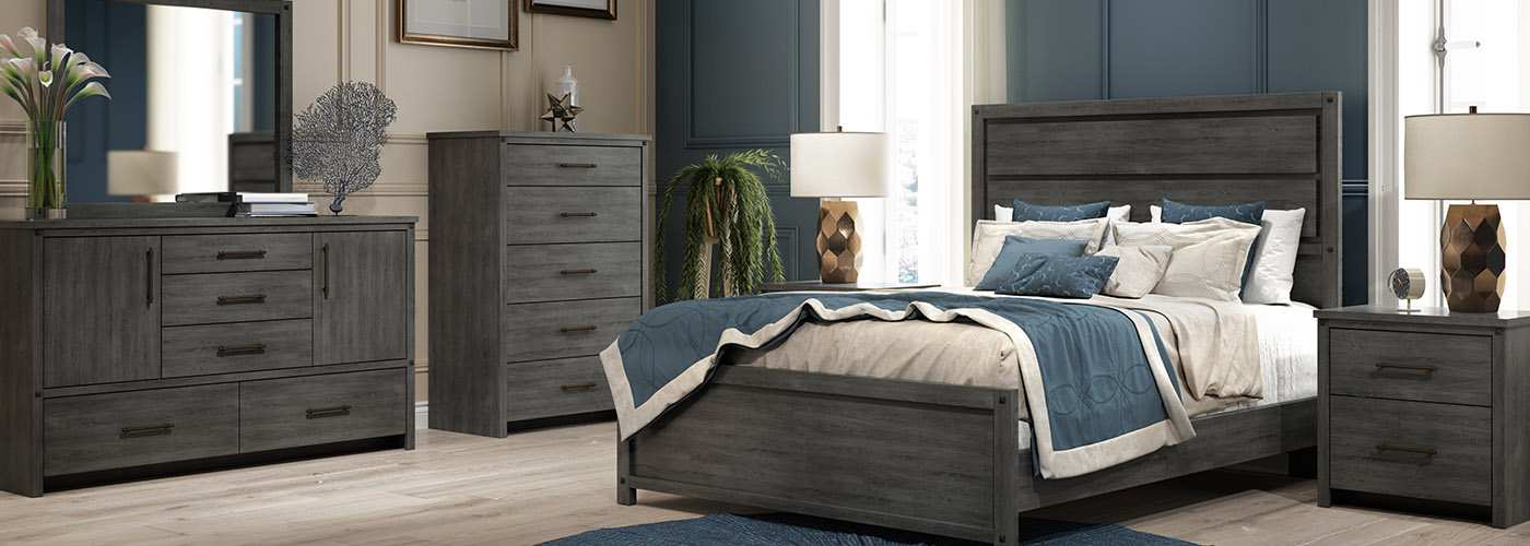 DeFehr Furniture Sterling Bedroom Collection in a moody, driftwood finish image