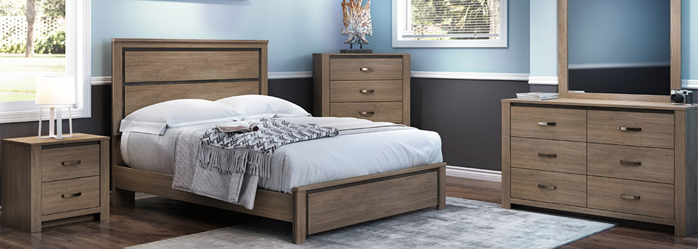The Bridgewater Bedroom Collection shown with a small-scale queen panel bed image